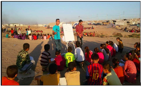 makeshift school for yezidi kids